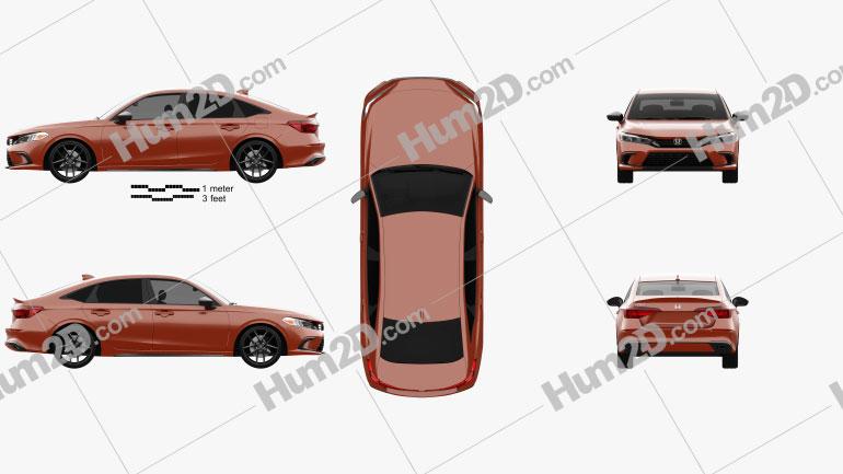 Honda Civic sedan 2022 Clipart Image