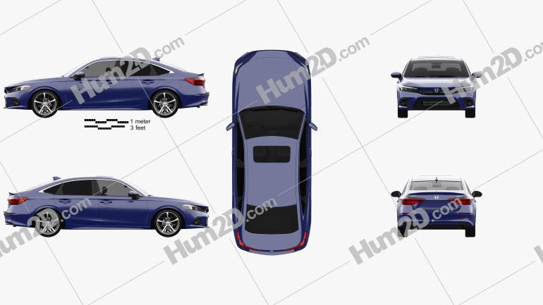Honda Civic Touring US-spec sedan 2022 car clipart