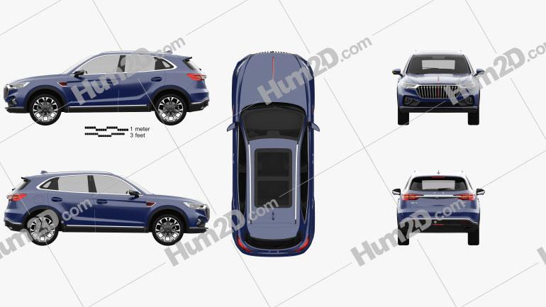 Hongqi HS5 2019 car clipart
