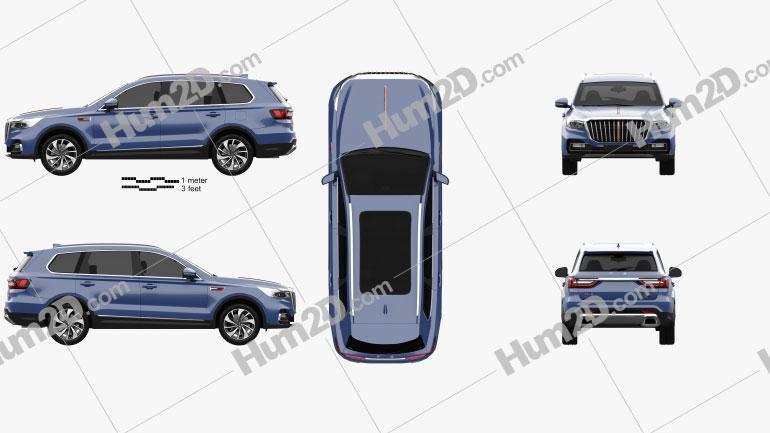 Hongqi HS7 2020 car clipart