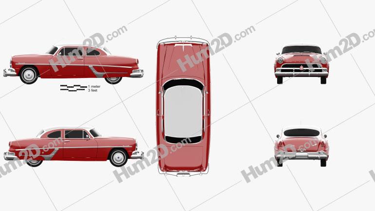 Hudson Hornet 2-door 1954 car clipart