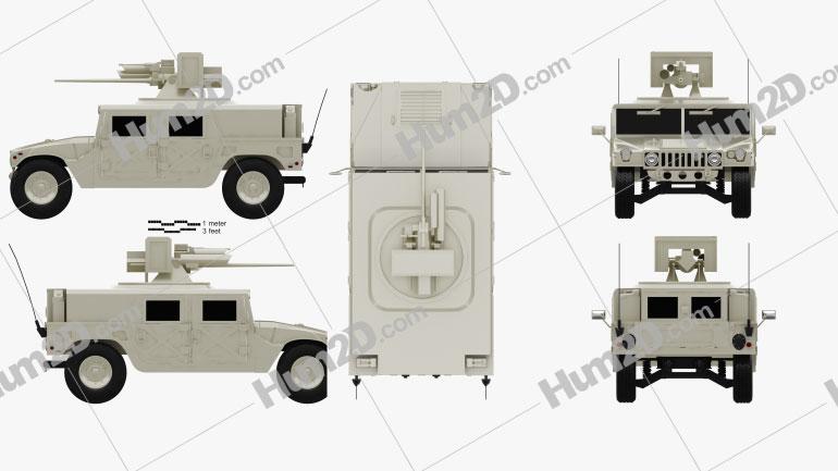 Hummer M242 Bushmaster 2011 Clipart Image