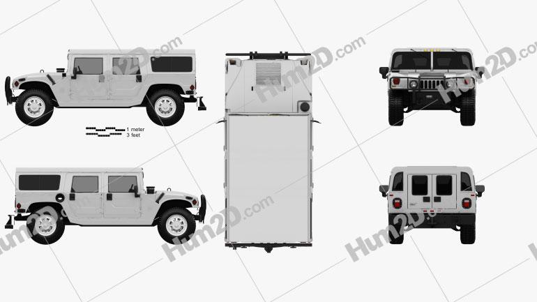 Hummer H1 wagon 2005 car clipart