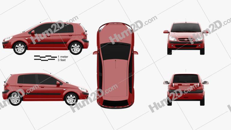 Hyundai Getz 2008 Clipart Image
