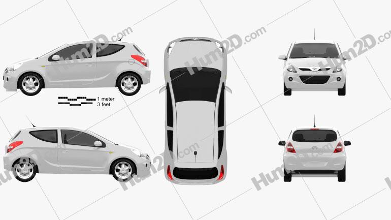 Hyundai i20 3-türig 2010 car clipart
