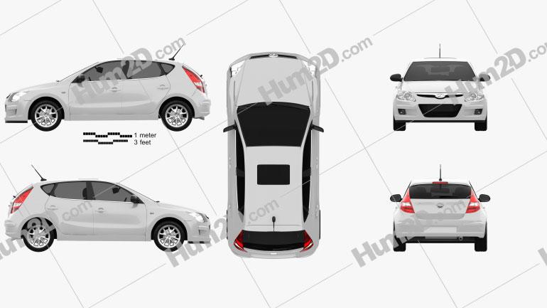 Hyundai i30 2010 Clipart Image