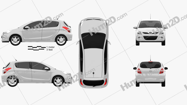 Hyundai i20 5-türig 2010 car clipart