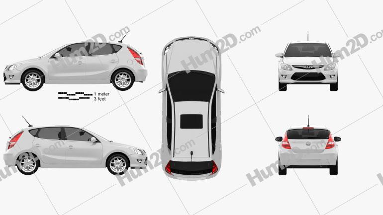 Hyundai i30 2011 Clipart Bild