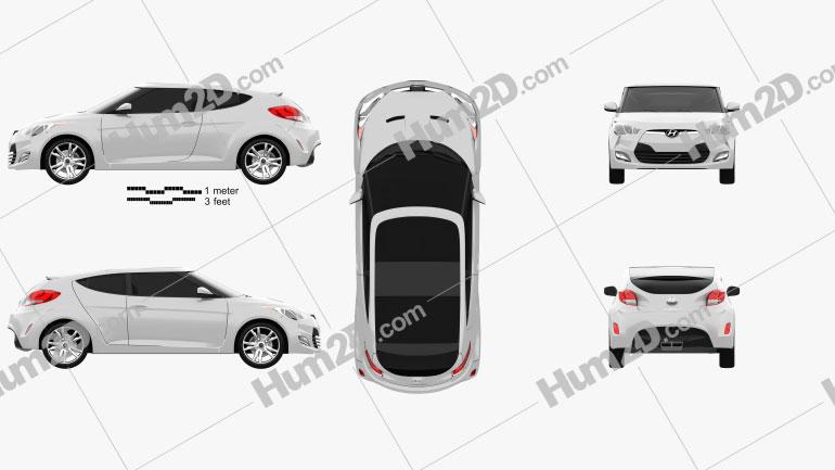 Hyundai Veloster 2012 Clipart Image