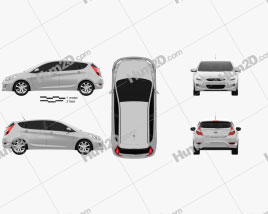 Hyundai Accent (i25) Hatchback 2012 car clipart