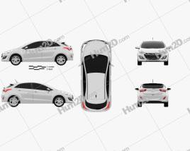 Hyundai i30 hatchback 2013 car clipart
