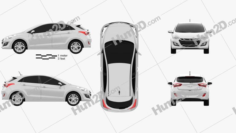 Hyundai i30 Schrägheck 2013 Clipart Bild