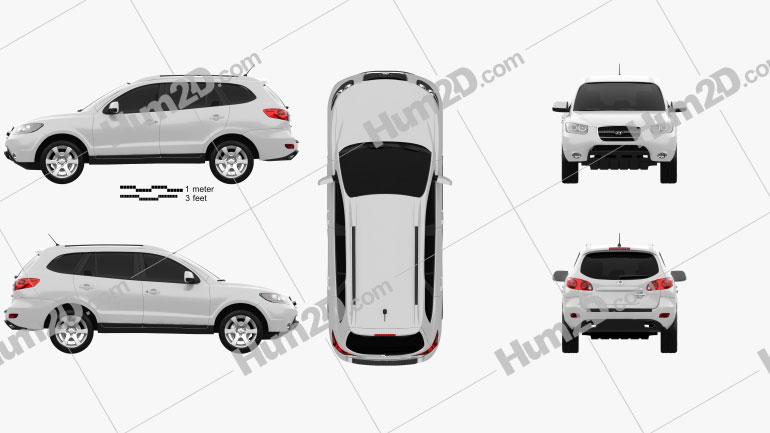 Hyundai Santa Fe 2007 Clipart Image