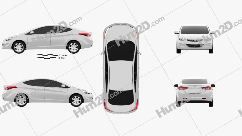 Hyundai Elantra (i35) Sedan 2012 car clipart