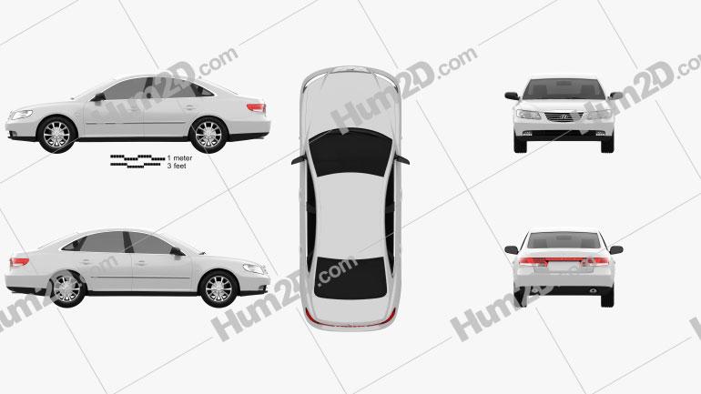 Hyundai Grandeur (Azera) 2011 Clipart Image