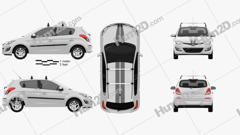 Hyundai i20 5-türig 2013 car clipart