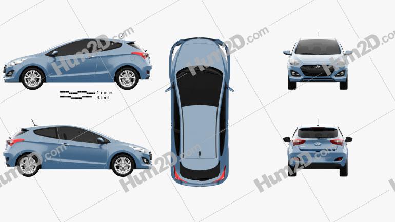 Hyundai i30 3-door hatchback 2013 car clipart
