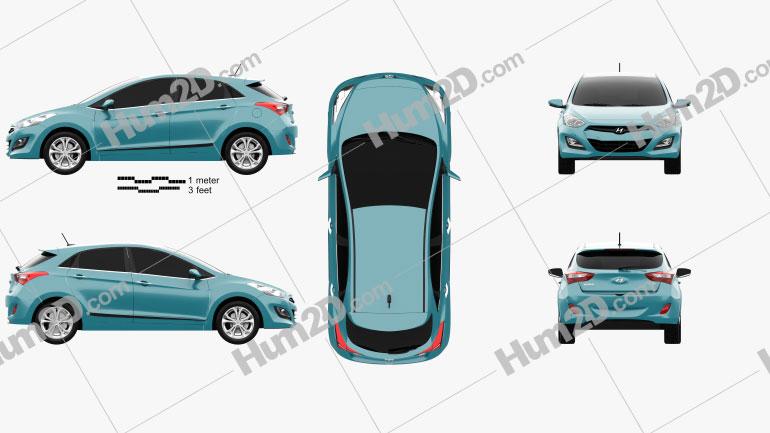 Hyundai i30 5-door hatchback (EU) 2013 Clipart Image