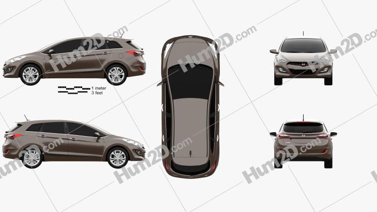 Hyundai i30 5-door wagon (EU) 2013 car clipart