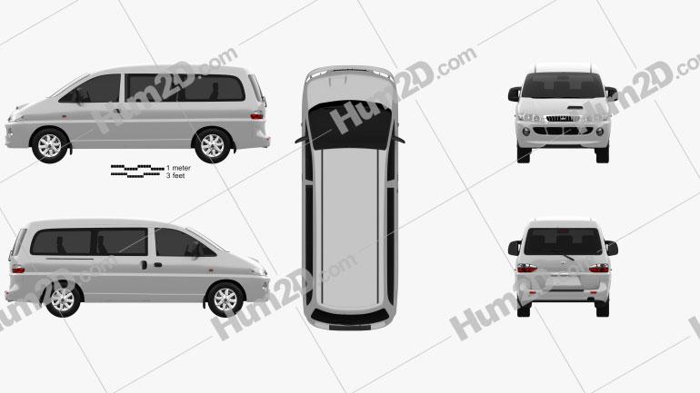 Hyundai H-1 Passenger Van 1997 Clipart Image