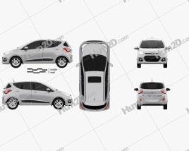 Hyundai i10 2014 car clipart