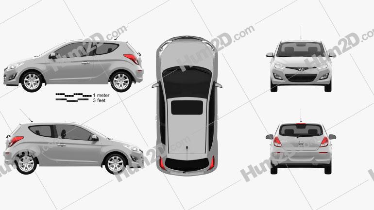 Hyundai i20 3-türig 2013 car clipart