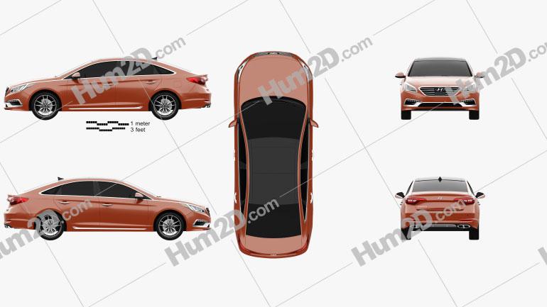 Hyundai Sonata (US) 2015 Clipart Image
