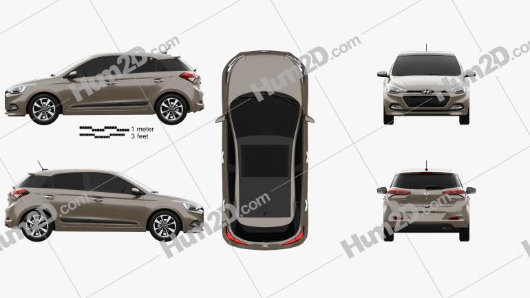 Hyundai Elite i20 2014 car clipart