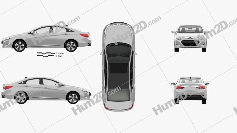 Hyundai Sonata (YF) hybrid with HQ interior 2015 car clipart