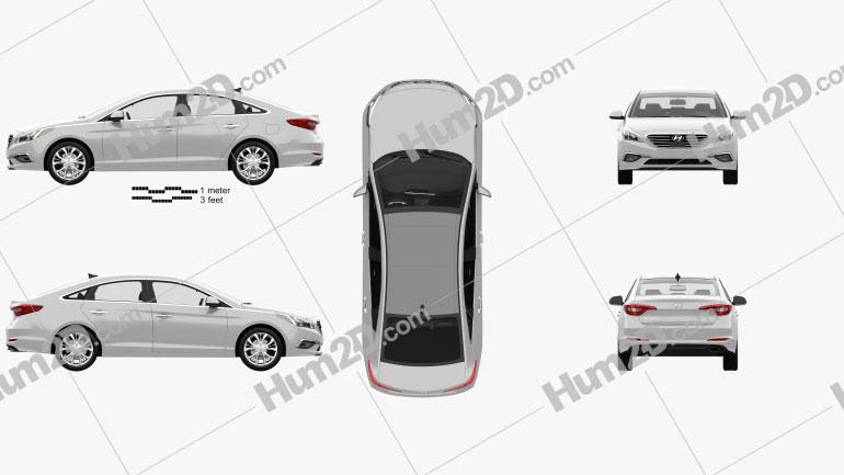 Hyundai Sonata (LF) mit HD Innenraum 2014 Clipart Bild