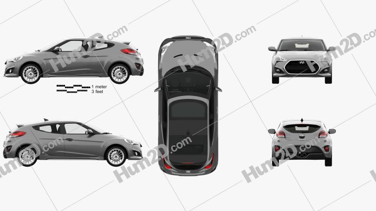 Hyundai Veloster Turbo with HQ interior 2014 car clipart