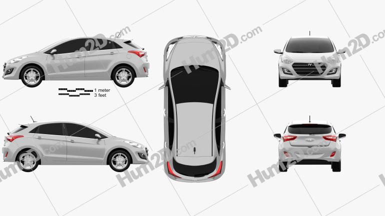 Hyundai i30 5-door 2015 car clipart
