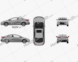 Hyundai Avante (JK) coupe with HQ interior 2014 car clipart
