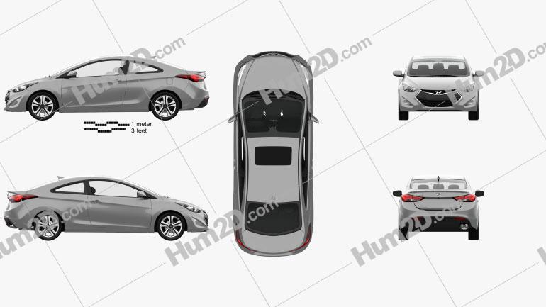 Hyundai Avante (JK) coupe with HQ interior 2014 Clipart Image