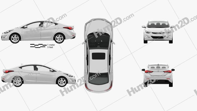 Hyundai Avante (MD) sedan with HQ interior 2014 car clipart