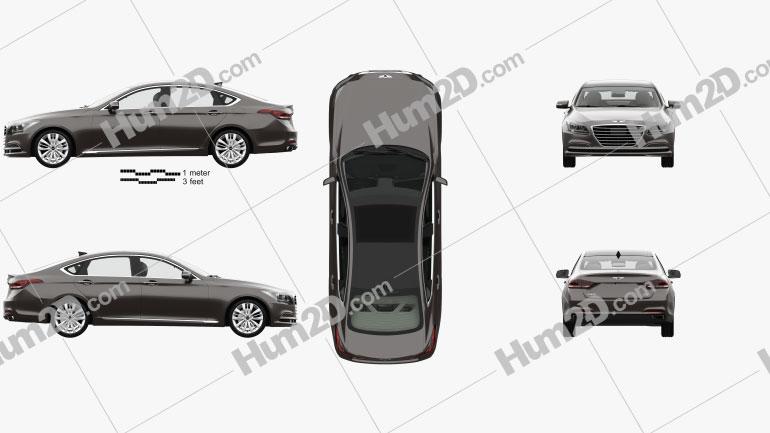 Hyundai Genesis (DH) mit HD Innenraum 2014 Clipart Bild