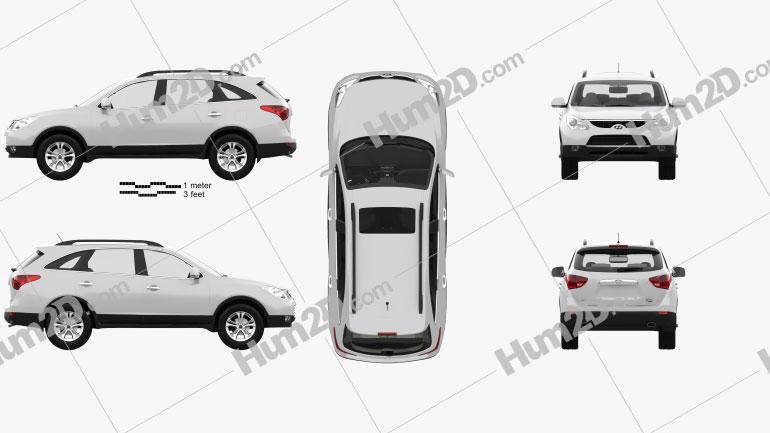 Hyundai Veracruz (ix55) with HQ interior 2014 Clipart Image