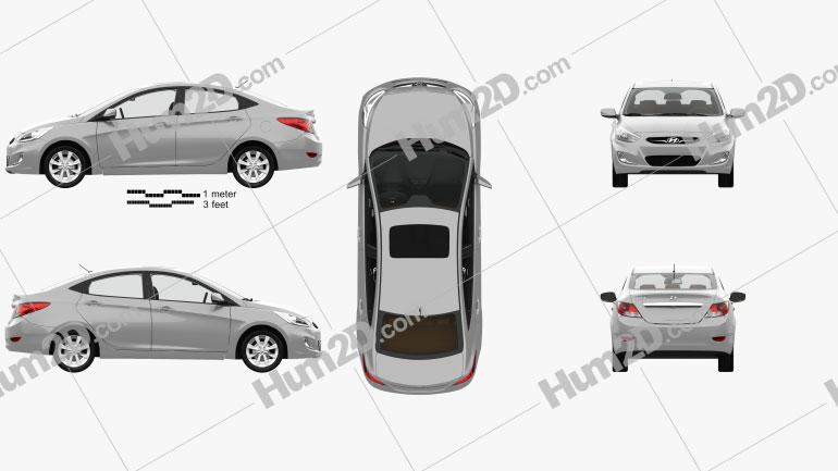 Hyundai Accent (RB) sedan with HQ interior 2014 car clipart
