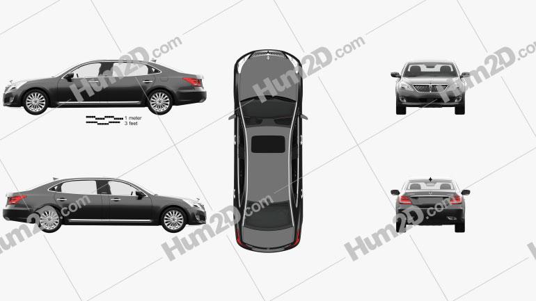 Hyundai Equus (Centennial) limousine with HQ interior 2014 car clipart