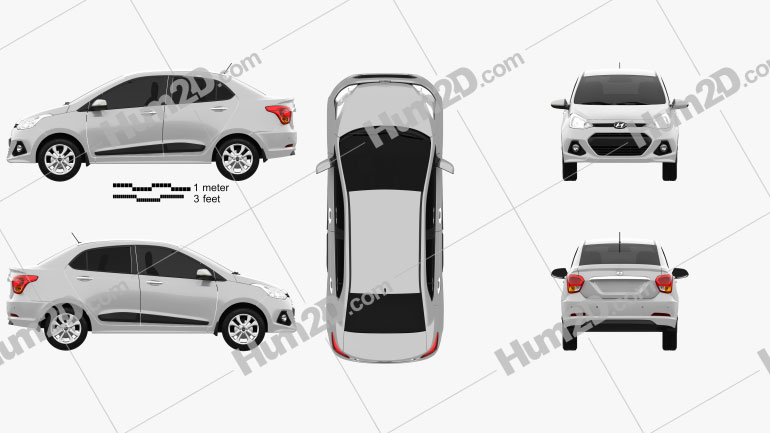 Hyundai Xcent 2014 Clipart Image