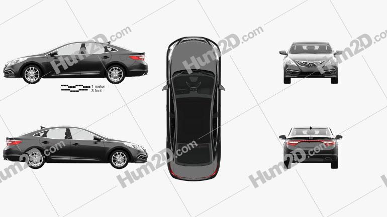Hyundai Grandeur (HG) with HQ interior 2014 car clipart