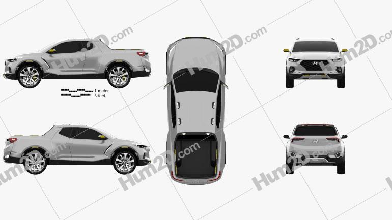 Hyundai Santa Cruz Crossover Truck 2015 Clipart Image