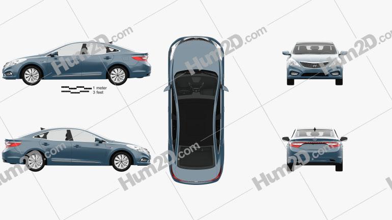 Hyundai Grandeur (HG) Hybrid with HQ interior 2014 car clipart