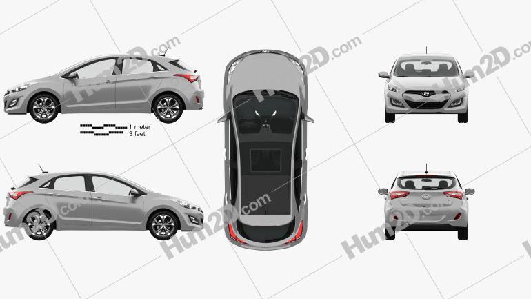 Hyundai i30 5-door with HQ interior 2014 car clipart