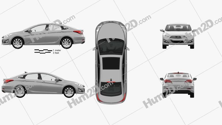 Hyundai i40 sedan with HQ interior 2011 car clipart
