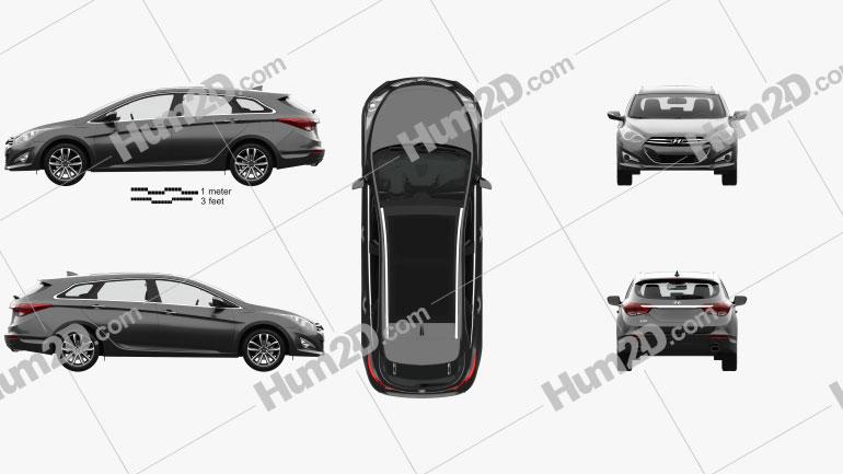 Hyundai i40 wagon with HQ interior 2011 car clipart