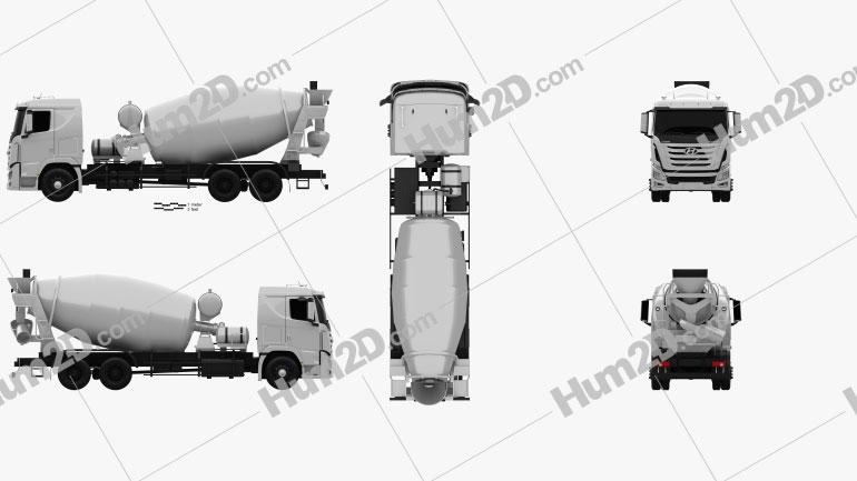 Hyundai Xcient Mixer Truck 2014 Clipart Image