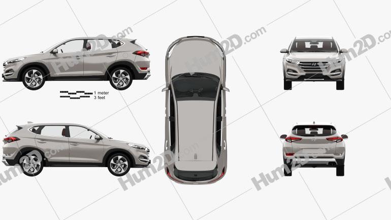 Hyundai Tucson with HQ interior 2016 Clipart Image