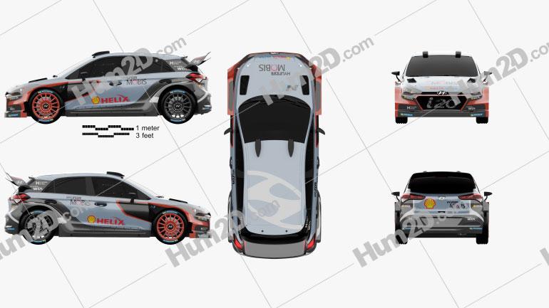 Hyundai i20 WRC 2016 car clipart