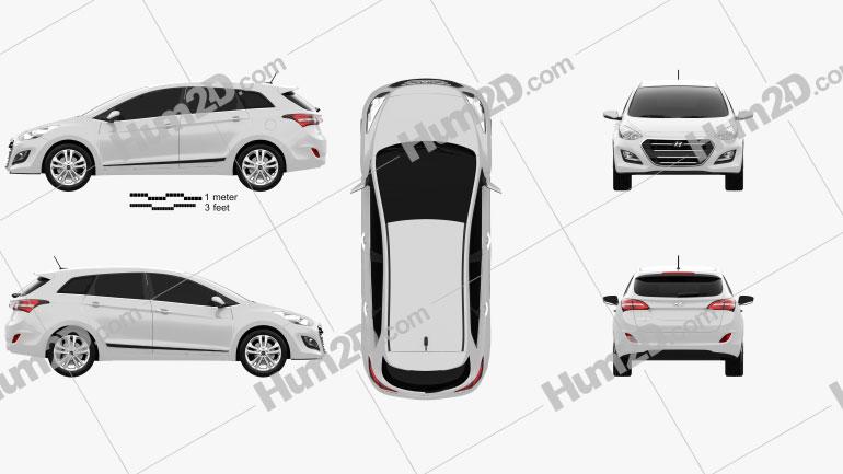 Hyundai i30 (Elantra) wagon 2015 car clipart